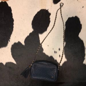 Bally vintage navy quilted leather chain crossbody